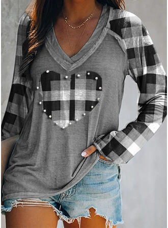 Print Beaded Heart V-Neck Long Sleeves Casual T-shirts