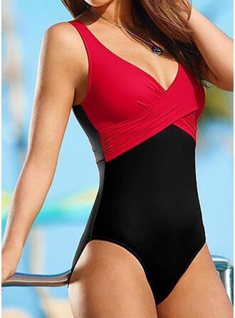 Splice color Strap V-Neck Sexy Classic Plus Size One-piece Swimsuits