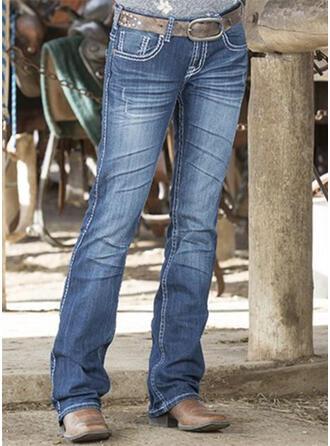 Solid Denim Long Casual Vintage Plus Size Pocket Denim & Jeans
