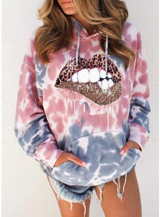 Print Tie Dye Leopard Sequins Pockets Long Sleeves Hoodie