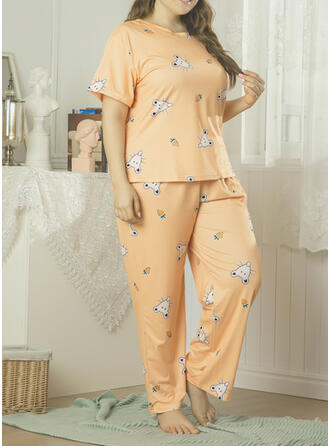 Polyester Print Plus Size Round Neck Short Sleeves Pyjama Set