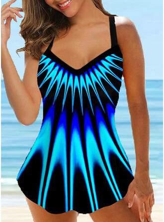 Floral Gradient Strap V-Neck Fashionable Plus Size Casual Swimdresses Swimsuits