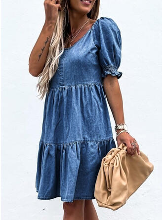 Solid/Backless Short Sleeves/Puff Sleeves A-line Knee Length Casual/Denim Skater Dresses