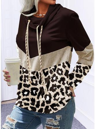 Color Block Leopard Scoop Neck Long Sleeves Hoodie