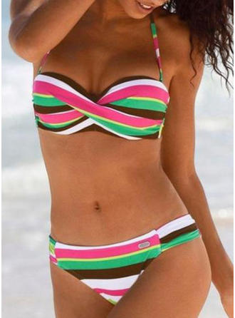 Stripe Cross Halter Sexy Bikinis Swimsuits
