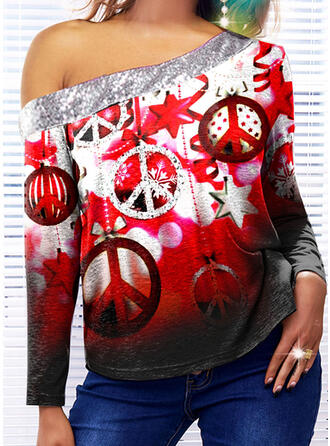 Mixed printing Sequins One Shoulder Long Sleeves T-shirts
