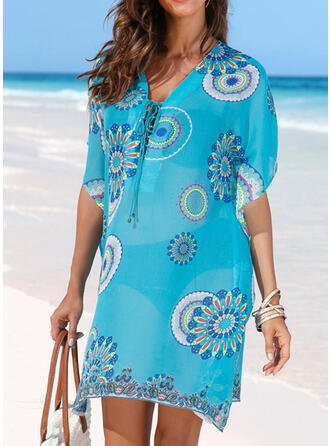 Floral V-Neck Attractive Casual Cover-ups Swimsuits