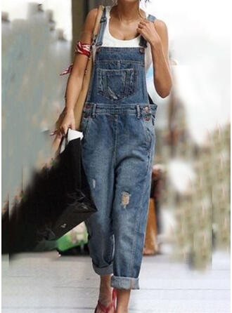 Shirred Plus Size Ripped Casual Vintage Denim & Jeans Jumpsuits & Rompers