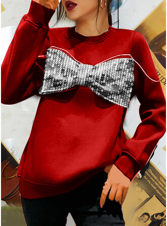 Christmas Solid Sequins Round Neck Long Sleeves Sweatshirt