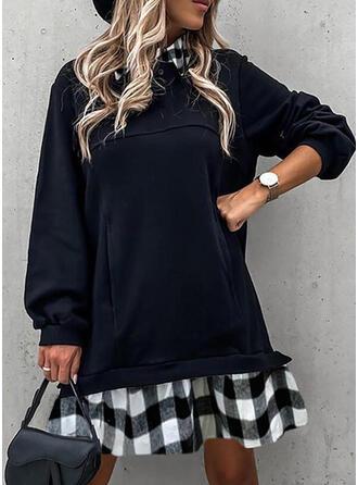 Plaid Long Sleeves Shift Knee Length Casual Tunic Dresses