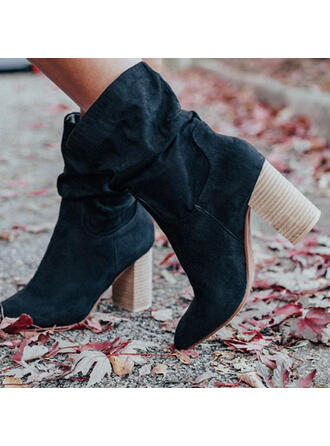Women's Suede Chunky Heel Martin Boots Round Toe With Animal Print Ruched shoes
