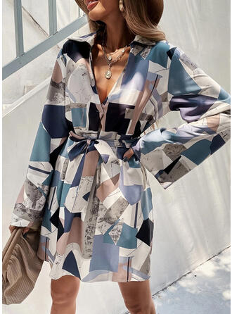 Geometric Long Sleeves Shift Above Knee Casual Dresses