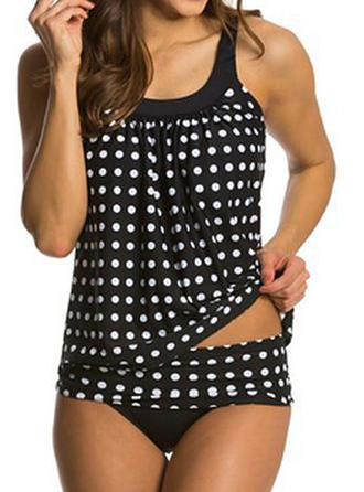 Plaid Strap U-Neck Sexy Plus Size Tankinis Swimsuits