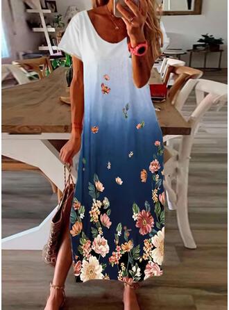 Print/Floral Short Sleeves Shift T-shirt Casual/Vacation Midi Dresses