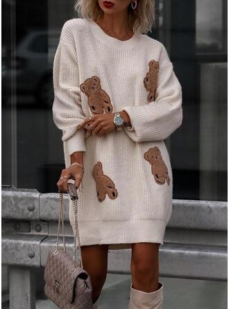 Animal Round Neck Casual Sweater Dress