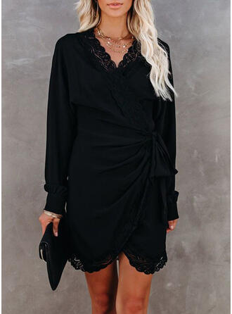Lace/Solid Long Sleeves Sheath Above Knee Little Black/Casual Dresses