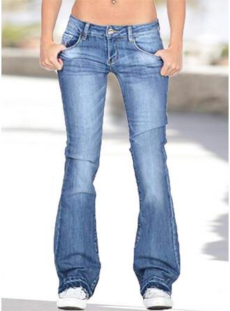 Pockets Plus Size Long Casual Denim & Jeans
