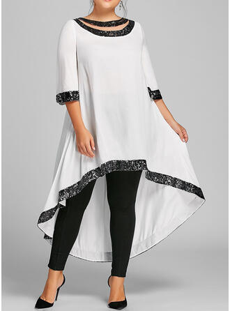 Plus Size Sequins 3/4 Sleeves Shift Asymmetrical Casual Elegant Dress