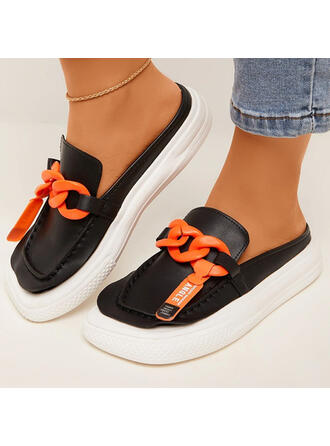 Women's PU Flat Heel Flats Square Toe With Chain shoes