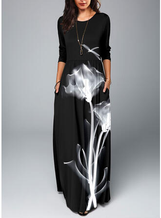 Floral Long Sleeves A-line Casual Maxi Dresses