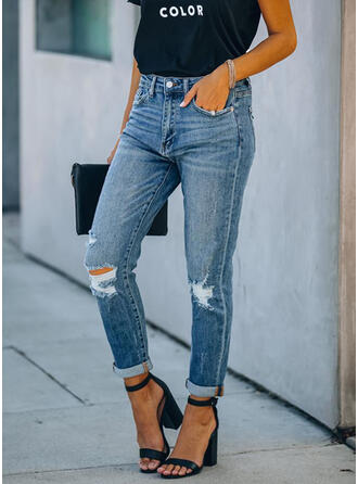 Plus Size Ripped Solid Denim Denim & Jeans