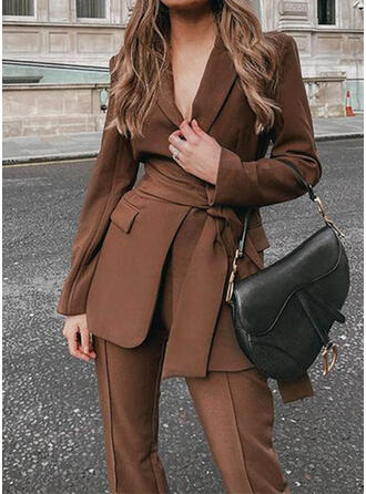Solid Elegant & Two-Piece Outfits Set