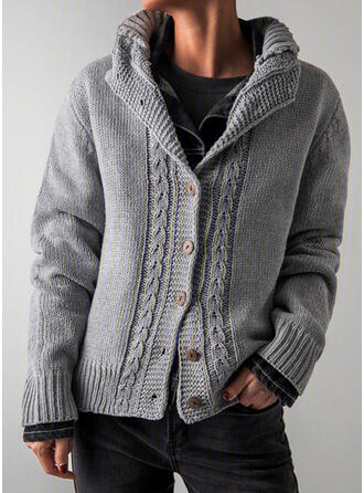 Solid Cable-knit Lapel Casual Cardigan