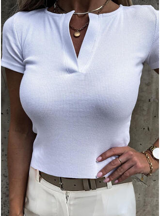 Solid V-Neck Short Sleeves Casual Basic Knit Blouses