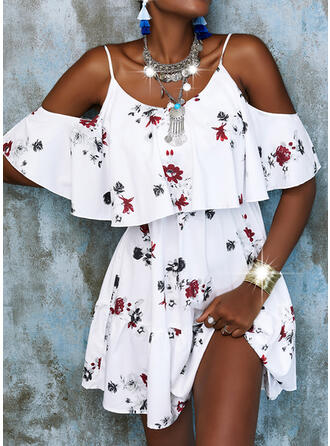 Print/Floral/Backless 1/2 Sleeves A-line Above Knee Casual Skater Dresses
