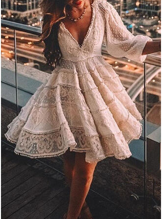 Lace/Solid 3/4 Sleeves A-line Knee Length Party/Elegant Skater Dresses