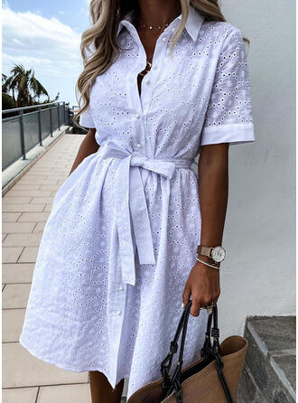 Solid Short Sleeves A-line Above Knee Casual/Vacation Dresses