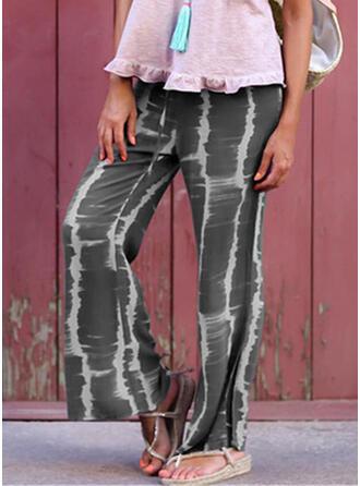 Shirred Tie Dye Long Casual Vintga Pants