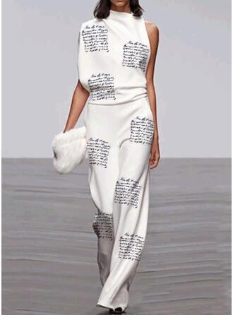 Print Stand collar Sleeveless Casual Elegant Jumpsuit