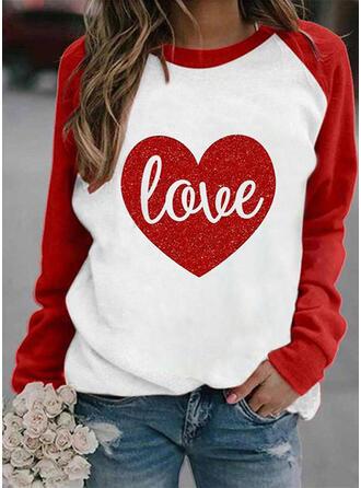 Print Color Block Figure Heart Round Neck Long Sleeves Sweatshirt
