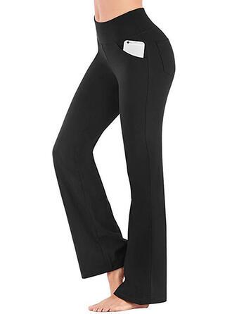 Shirred Long Casual Elegant Sexy Skinny Solid Leggings
