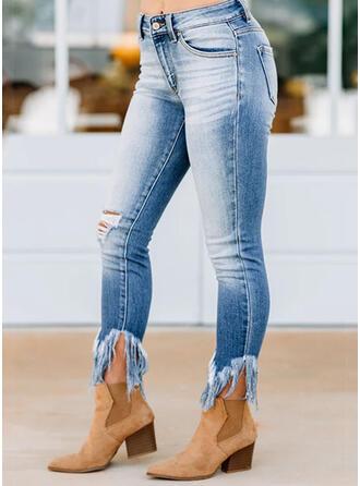 Shirred Ripped Tassel Cropped Boho Elegant Sexy Denim & Jeans