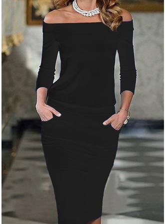 Solid 3/4 Sleeves Bodycon Knee Length Little Black/Elegant Dresses