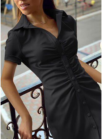 Solid Short Sleeves Sheath Above Knee Little Black/Casual Shirt Dresses