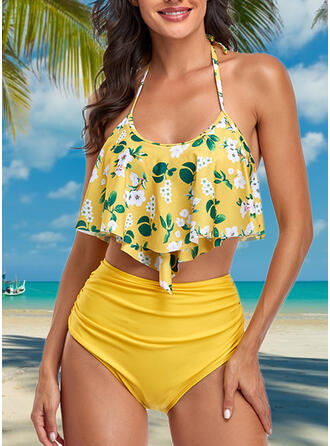 High Waist Leaves Print Halter Elegant Retro Bikinis Swimsuits
