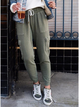 Solid Plus Size Drawstring Casual Sporty Stretchy Lounge Pants