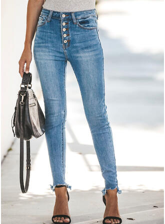 Pockets Shirred Long Sexy Plain Denim & Jeans