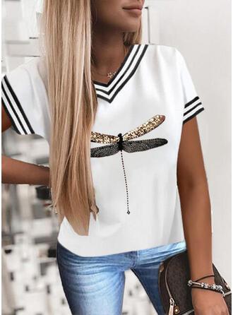 Striped Sequins V-Neck Short Sleeves T-shirts