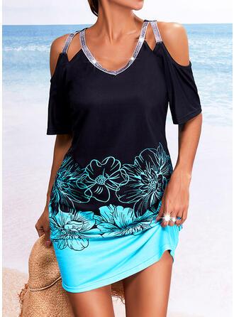 Print/Floral/Color Block Sequins 1/2 Sleeves Cold Shoulder Sleeve Sheath Above Knee Casual Dresses