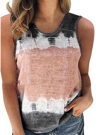 Print Round Neck Sleeveless Tank Tops