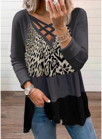 Color Block Leopard Print V-Neck Long Sleeves T-shirts