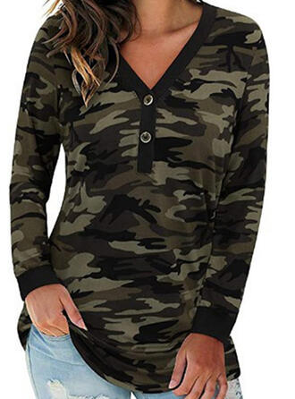 Camouflage V-Neck Long Sleeves T-shirts