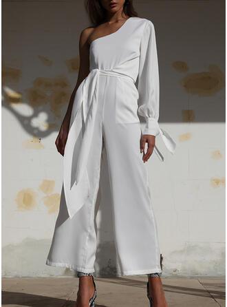 Solid One Shoulder Long Sleeves Lantern Sleeve Casual Elegant Jumpsuit