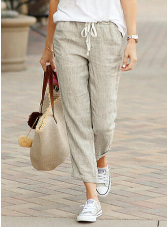 Pockets Shirred Plus Size Long Casual Sporty Pants