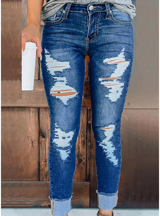 Solid Denim Long Casual Vacation Plus Size Pocket Ripped Denim & Jeans