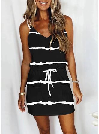 Print/Striped Sleeveless Sheath Above Knee Casual Slip Dresses